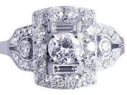 10k White Gold Round Engagement Ring Diamantée Art Deco Style Old 2,30ct