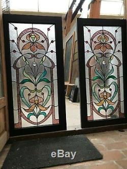 2 Stained Glass Art Nouveau Style In 1900 In Good Condition