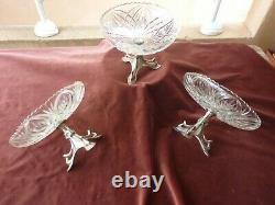 3 Compote Cups Pitements Art Nouveau, Noodle Style, Glass And Silver Metal