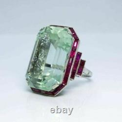 925 Silver Sterling Art Deco Style Sparkling Grand Emerald Cz Pink Fine Ring
