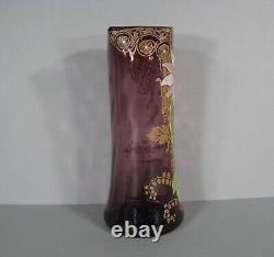 Ancient Glass Vase Glazed Style Art Nouveau Decor Fleur Montjoye Legras Pantin