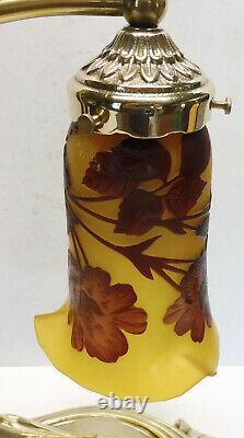Ancient Lampe Style Art-nouveau Bronze Signed P. Lucas Superb Tulip (1)