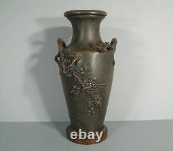 Ancient Regular Vase Patine Style Art Nouveau Signed Moreau Decor Hirondelle Fleur