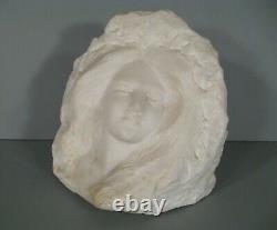 Ancient Sculpture Marble Face Female Flower Art Nouveau Vintage 1900