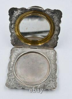 Ancient Silver Powder Box 800 Style Decoration 1900 Art Nouveau
