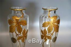 Antique Baccarat Crystal Vases Pair Of Art Nouveaux Style Ca 1900. Label