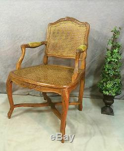 Armchair Caned Louis XV (eighteenth) Walnut Has Spacer And Flat File