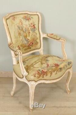 Armchairs Louis XV Style Aubusson Tapestry