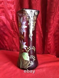 Art Nouveau Glass Vase Glazed Epoque 1900 Flower Decor Style Legras
