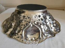 Art Nouveau Style Silvery Metal Basket Richly Decorated With Hardwood Rose