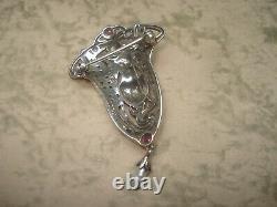 Art Style Silver Brooch New Woman Flower