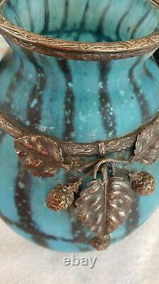 Beautiful Vase Art Nouveau Or Art Deco Style With Metal Decor Daum Majorelle