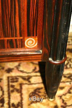 Bedside / Veneer Nightstand Macassar Ebony Art Nouveau