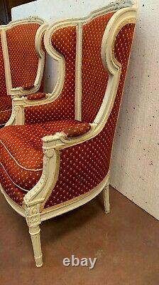 Bergères Has Ears Style Louis XVI Pair Of Chairs Patinated