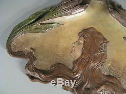 Bernard Bloch Plate Terracotta Polychrome Art Nouveau Style Young Woman