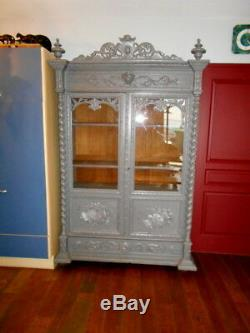 Cabinet / Showcase Epoque 1900 Debut Style Louis 13 In Chene