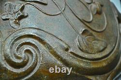 Cache Pot In Pastry Cast Iron Art Nouveau Style Signed Jean Garnier (1853-1910)
