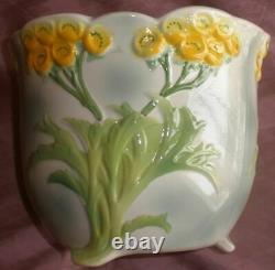 Cache-pot Faience Barbotine Saint-clément France Floral Decoration Style Art Nouveau