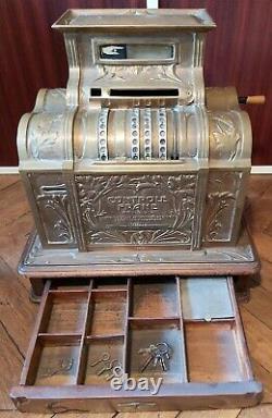 Caisse Register La Nationale Style Art Nouveau Laiton Et Bois