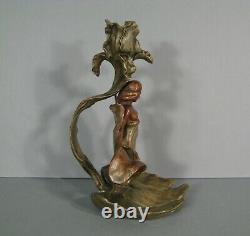 Candlestick Ancient Bronze Style Art New Decor Woman Nude Jugendstil