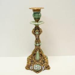 Candlestick Art Deco Style Art Nouveau Porcelain Ceramic Bronze