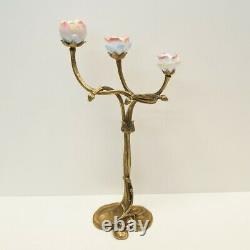 Candlestick Flowers Style Art Deco Style Art New Solid Bronze Ceramic Porcela