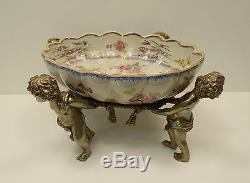 Centerpiece Fruit Angel Cherubin Bebe Art Nouveau Porcelain Bronze