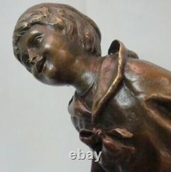 Child Statue Style Art Deco Art Nouveau Massif Bronze Sign