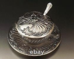 Christofle Gallia Confiturier Style Louis XV Metal Silver And Crystal Around 1900