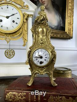 Clock Old 19 Th Bronze To Gold A Louis XV Style Decor Putti