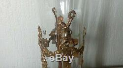 Crystal Vase Grave And Bronze Art Nouveau Brass End 19 Eme Louix XVI Style