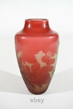 D'argental Art Nouveau Cameo Glass Vase ° Design Paul Nicolas Nancy
