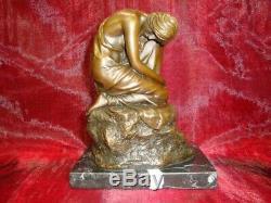 Demoiselle Statue Naked Sexy Style Art Deco Art Nouveau Bronze Massive Sign