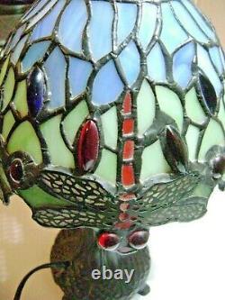 Dragonflies Tiffany Lamp Feet Glass Pate Metal