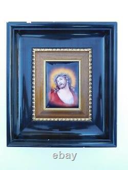 Fabulous French Art Nouveau Style Deco C. 1920s Enamel Jesus Christ Ecce Homo