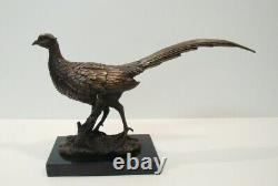 Faisan Statue Hunting Style Art Deco Style Art Nouveau Bronze Massive Bronze