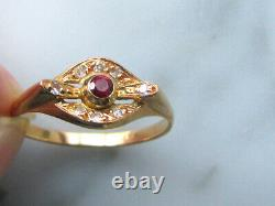 Fine Pink Gold Ring 18 K Ruby Eagle Head 8 Small Diamonds Art Nouveau Style