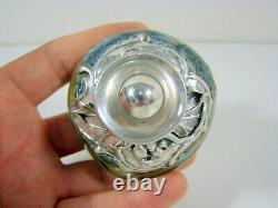 Flacon Perfume Glass And Silver Massif Art New King Salomon Israel Loetz Style