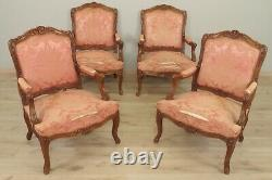 Four Louis Xv-style Flat-backed Armchairs