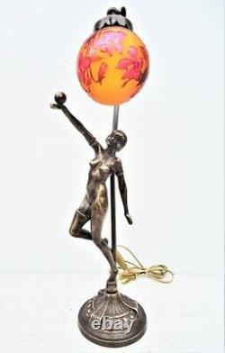Gallé-style Grave Lamp, Art Nouveau, Venus Boule Fleurs Rouges