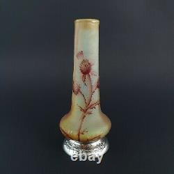 Glass Paste Vase And Solid Silver Art Nouveau Daum Style