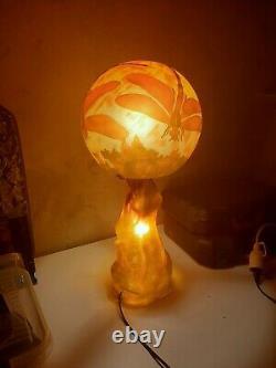 Glass Pate Lamp, Gallé Style, Art Nouveau Art Deco
