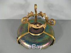 Glassware From Austria Cup Loetz Art Nouveau Style Iridescent Glass And Brass