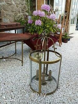 Grande Lanterne De Vestibule En Bronze Style Directoire Verre Bombé