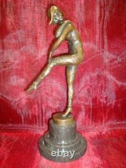 Harlequin Style Art Deco Art Nouveau Style Massive Bronze Sign Statue