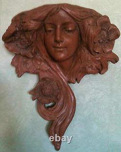 Head Woman Earth Cuite Art New Style Goldscheider A Suspend 40 CM