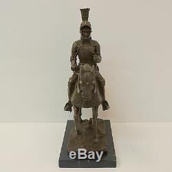 Horse Statue Knight Armor Style Art Deco Art Nouveau Bronze Massif If