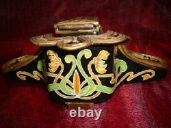 Ink Flower Iris Style Art Deco Style Art Nouveau Bronze Bronze Ceramic