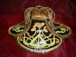 Inkwell Iris Flower Art Deco Style Art Nouveau Porcelain Ceramic Bronze