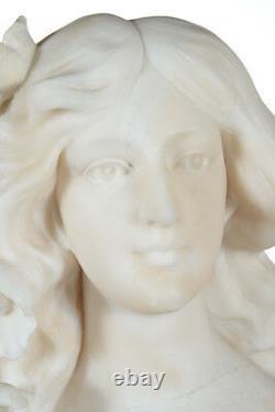 Italian Art Nouveau Style Fabulous Alabaster Bust Of A Girl C. 1890s